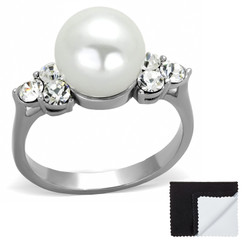 Stainless Steel 316 High Polished 9mm White Synthetic Pearl with CZ Ring