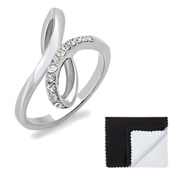 Stainless Steel Infinity Knot High Polished Cubic Zirconia Ring