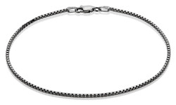 2.3mm High-Polished 0.16 mils (4 microns) Black Plated Silver Square Box Chain Necklace, 7'-30