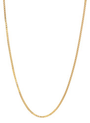1.3mm 14k Yellow Gold Plated Square Box Chain Necklace
