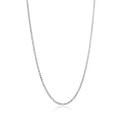 2.7mm Oxidized Plated Silver Square Box Chain Necklace, 7'-30