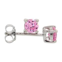 Rhodium Plated .925 Sterling Silver Pink Tourmaline CZ Round Brilliant Cut Birthstone Stud Earrings, 4,5,6,7 (mm)