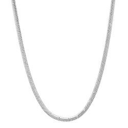 2mm Diamond-Cut Rhodium Plated Round Snake Chain Necklace + Gift Box