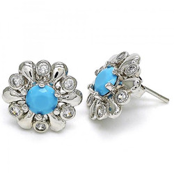 18.3mm Rhodium Plated Blue Opal Flower Stud Earrings, 18.3mm