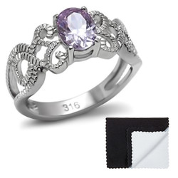Stainless Steel Light Amethyst Cubic Zirconia Intertwined Band Ring