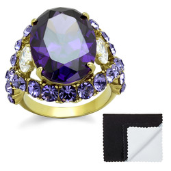 Stainless Steel IP Gold Plated Amethyst Cubic Zirconia Cocktail Ring