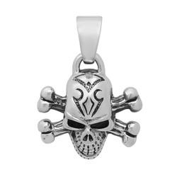 Highly Polished .925 Sterling Silver 29.5mm Skull & Bones Pendant + Microfiber