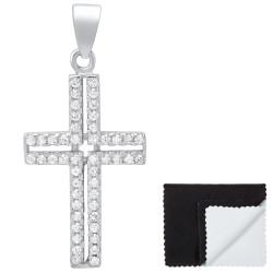 """Women""""s .925 Sterling Silver Nickel Free CZ Cross Pendant, 26mm x 16.5mm (1""""x ⅔"""")"""