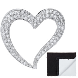 Women's .925 Sterling Silver Nickel Free CZ Open Heart Pendant, 38mm x 38mm (1 ½' x 1 ½')