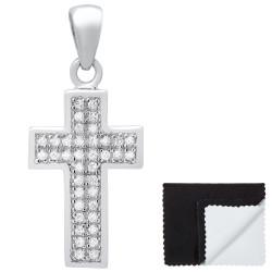 Women's .925 Sterling Silver Nickel Free CZ Cross Pendant, 19.5mm x 12.5mm (¾' x ½')