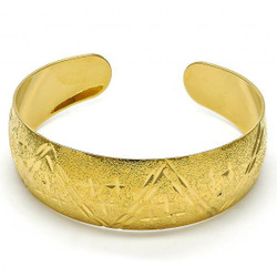 Women 24mm Gold Plated Diamond Cut Star Cuff Bangle Bracelet 7.6' One Size Fits All + Polishing Cloth
