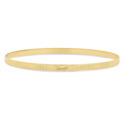 4mm Gold Plated Ridged Bangle Bracelet with Etched Design + Microfiber Polishing Cloth