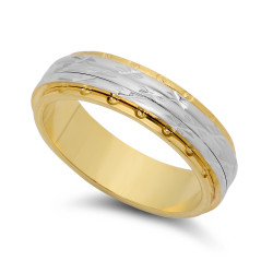 6mm Two-Toned 14k Gold Plated Diamond-Cut Star Accented Step Edge Band + Microfiber