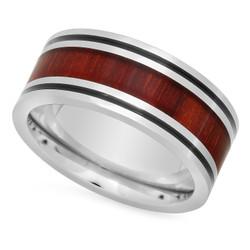 Two-Tone Black & Titanium 8mm Comfort Fit Ring w/Koa Rosewood Inlay + Microfiber