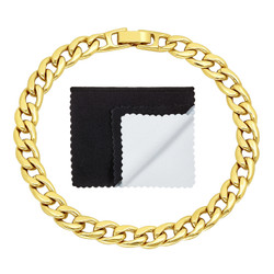 7mm 14k Yellow Gold Plated Flat Curb Chain Bracelet