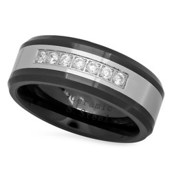 Black Ceramic 8mm Comfort Fit Wedding Ring w/CZs & Stainless Steel Inlay
