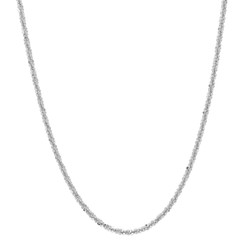 1.4mm Polished Rhodium Plated Silver Fancy Link Chain Necklace