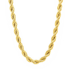 5mm 14k Yellow Gold Plated Round Rope Chain Necklace, 19'-40