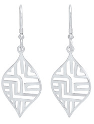 Sterling Silver Nickel-Free Filigree Leaf Cut Dangling Earrings - Made in Italy