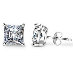 .925 Sterling Silver 4mm - 7mm Princess Cut CZ Stud Basket Set Rhodium Plated Earrings - Made in Italy