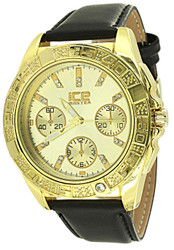 Mens 45mm Gold Plated Perpetual Calender Analog Black Leather Band Casual Watch w/ Buckle Watch + Cloth