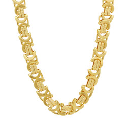 9mm 14k Yellow Gold Plated Flat Byzantine Chain Necklace