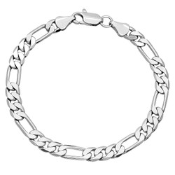 6mm Rhodium Plated Flat Figaro Chain Bracelet