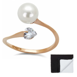 Stainless Steel 316 Rose Gold Plated 8mm White Synthetic Pearl with Heart CZ Ring