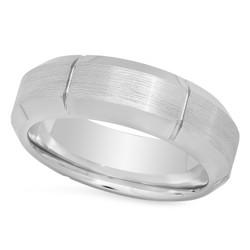 Cobalt 8mm Comfort Fit Ring w/Brushed Center & Vertical Grooves + Microfiber