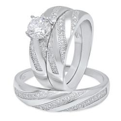 Couples Sterling Silver Italian Crafted CZ Diagonal Rows 3-Piece Wedding Ring Set + Bonus Polishing Cloth