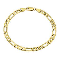 5.3mm 14k Yellow Gold Plated Flat Figaro Chain Bracelet