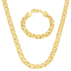 8.8mm 14k Yellow Gold Plated Flat Mariner Chain Necklace + Bracelet Set