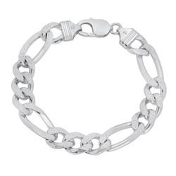 10.7mm .925 Sterling Silver Diamond-Cut Flat Figaro Chain Bracelet