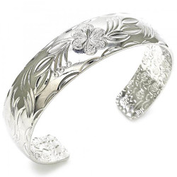 "Women 15.5mm Rhodium Plated Flower and Leaf Cuff Bangle Bracelet 6.8"" One Size Fits All + Polishing Cloth"