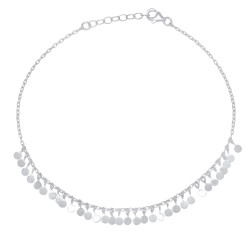 Women's Italian Crafted .925 Sterling Silver Nickel Free Charm Anklet, 10.5 inches + Anti-Tarnish Velvet Pouch