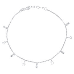 1.8mm Solid .925 Sterling Silver Round Charm Anklet, 11 inches