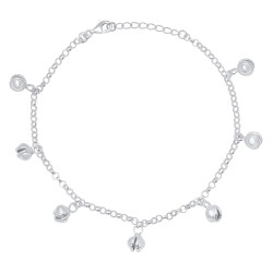 Women's Italian Crafted .925 Sterling Silver Nickel Free Round Charm Anklet, 10 inches + Anti-Tarnish Velvet Pouch