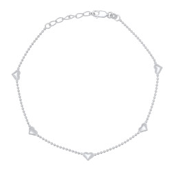 1.5mm Solid .925 Sterling Silver Ball Military Charm Anklet, 10.5 inches