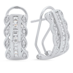Sterling Silver Italian Crafted Infinity Flanked Channel Set CZ 9mm Post Clip Earrings + Polishing Cloth