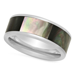 Titanium 8mm Comfort Fit Ring w/Black Gradient Abalone Inlay + Microfiber