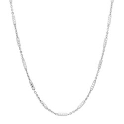 1.3mm Polished Rhodium Plated Silver Flat Link Chain Necklace