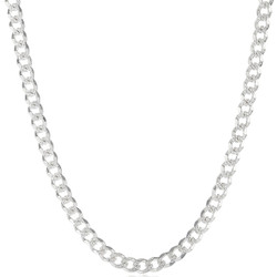 Men's 6.5mm .925 Sterling Silver Diamond-Cut Flat Cuban Link Curb Chain Necklace