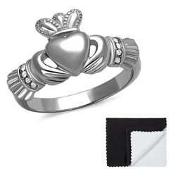 Stainless Steel High Polished Irish Claddagh Heart Cubic Zirconia Ring