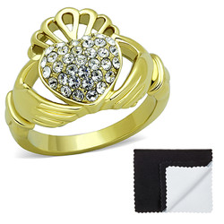Stainless Steel IP Gold Plated Irish Claddagh Heart Pave Cubic Zirconia Ring