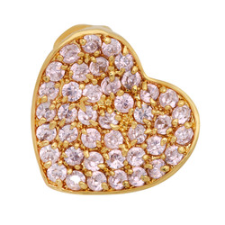 Gold Plated Heart Shaped Slider Pendant w/Light Pink Pave CZs + Microfiber
