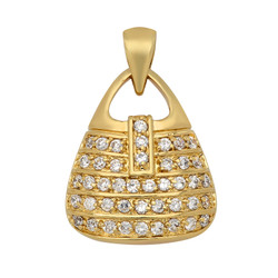 Gold Plated Purse Pendant Accented w/Rows of Cubic Zirconia + Microfiber