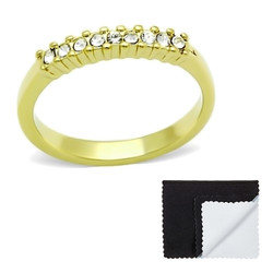 Stainless Steel IP Gold Plated Channeled Cubic Zirconia Band Ring