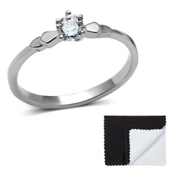 Stainless Steel Solitaire Round Cut Cubic Zirconia Promise Ring