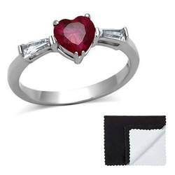 Stainless Steel Red Heart Cubic Zirconia Ring
