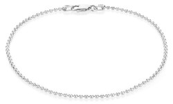 1.8mm High-Polished 0.16 mils (4 microns) Rhodium Plated Silver Round Ball Chain Necklace, 7'-30